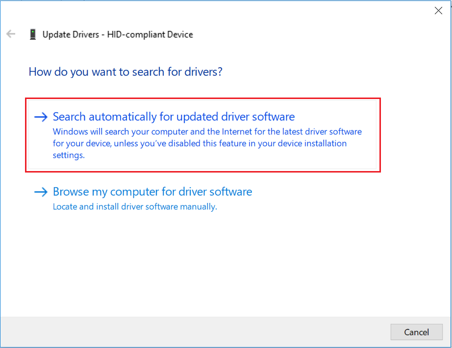 Acer T272HL touch functionality does not work with Windows 10