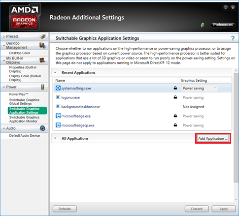 Configure AMD Radeon Switchable Graphics