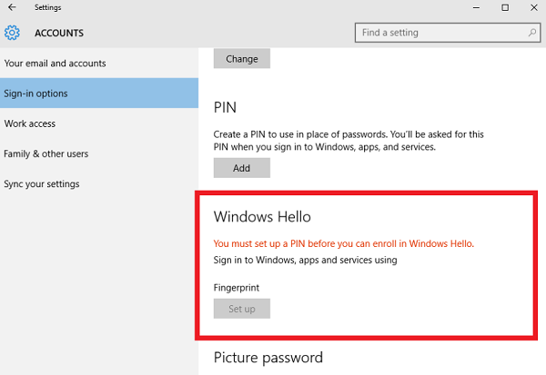 Windows 10: Use fingerprint reader to sign in