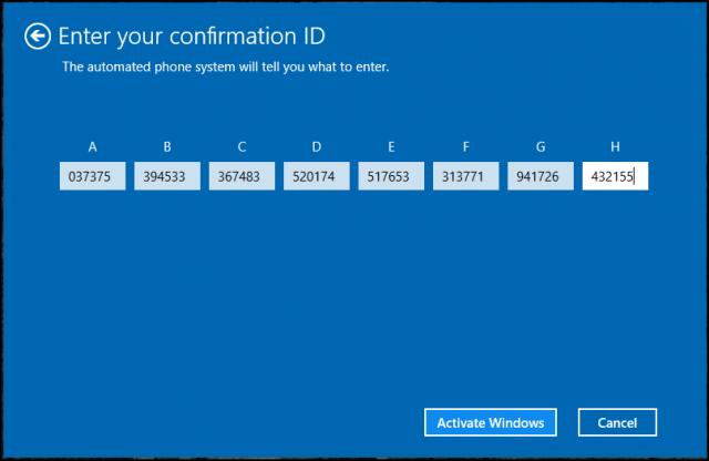 microsoft windows xp confirmation id