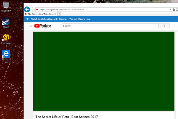 Video playback shows a green screen after installing Windows