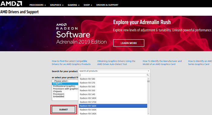 Download and install the latest Adrenalin driver from the AMD website
