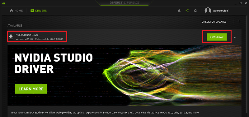 Download and install NVIDIA Studio driver for ConceptD 7