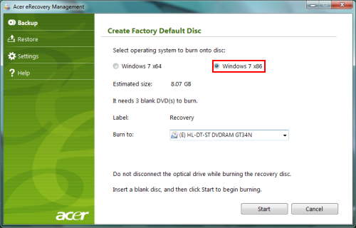 acer create recovery disk windows 7