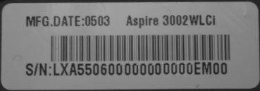 Notebook Serial Number
