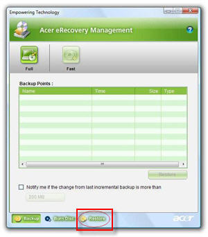acer edatasecurity management vista